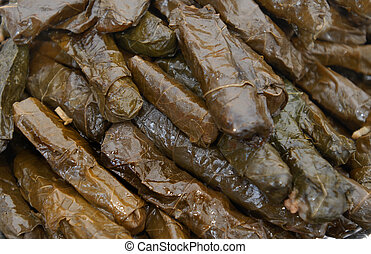 Traditional turkish food - sarma dolma - Grape leaves with...