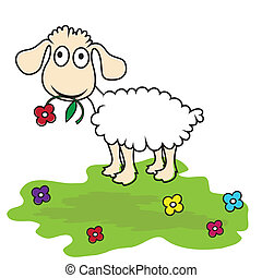 Cartoon sheep, vector lamb. Funny mammal baby.