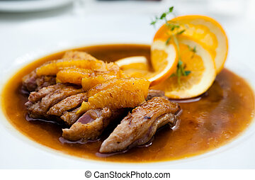 Duck fillet in orange sauce