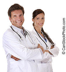 happy doctors - doctors are smiling on white isolated...
