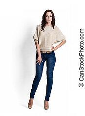Beautiful woman in beige blouse - Fashion model wearing...