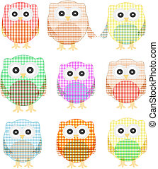 owls icon set isolated on white