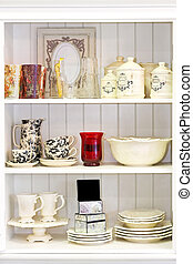 Cupboard white - Vintage style white cupboard with...