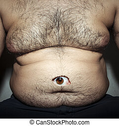 monstrous belly fat of dirty man with eye