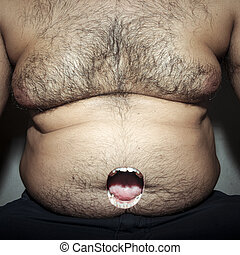 monstrous belly fat of dirty man with moth open mouth
