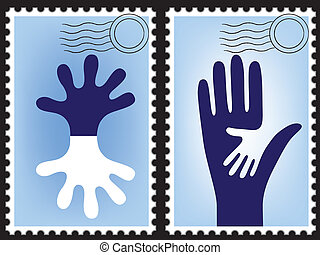Postage stamp vector, post card. Blank post. Postcard. Mail...