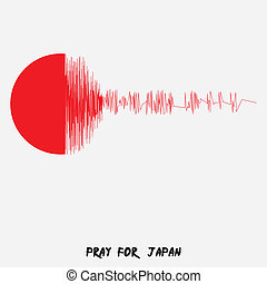 Japan Flag with text Pray for Japan Earthquake in Japan,...