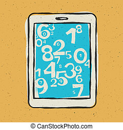 Tablet device waith abstract digits. Vector illustration,...