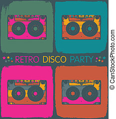 Retro disco party invitation in pop-art style Vector, EPS8
