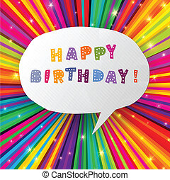 Happy birthday card on colorful rays background Vector,...
