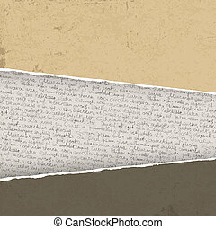 Vintage torn background with handwritings. Vector...
