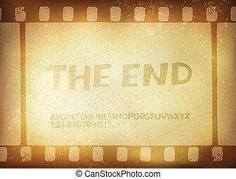 Old filmstrip. Movie ending frame. Vector illustration,...