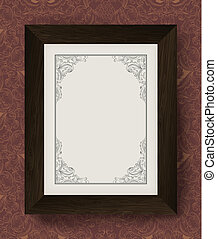 Vintage border with wooden frame. Vector illustration, EPS10