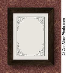 Vintage border with wooden frame. Vector illustration, EPS10