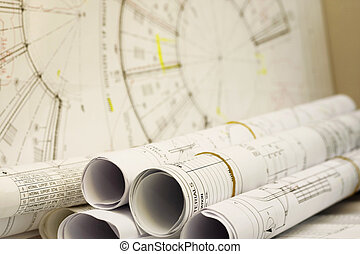 Blueprint - rolls of blueprint for engineering design and...