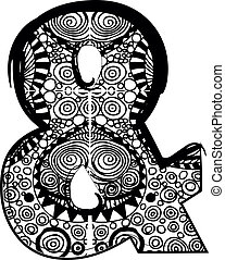 & symbol with abstract drawing. Vector illustration