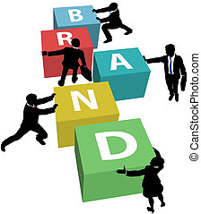 Business people build company brand - Marketing people team...