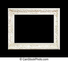 White frame made from engraved wood isolated