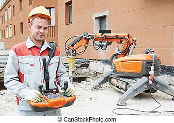 máquina, trabajador, constructor, Operar, Demolición
