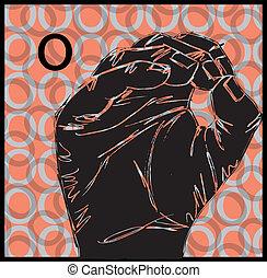 señal, idioma, mano, gestos
