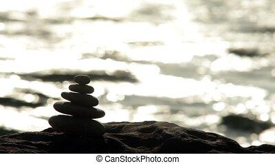Zen tower - Zen stones tower near water flow