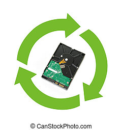 Electronics Recycling - A computer hard drive with a...