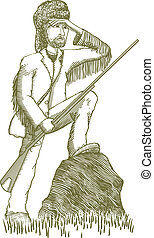 Woodcut Explorer - Woodcut style illustration of an explorer...