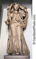 antiguo, romano, estatua, Retratar, Selene