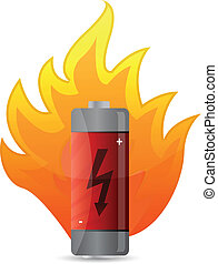 battery on fire illustration design