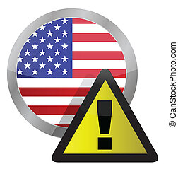 us flag seal with a warning sign