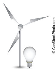 wind turbine and a light bulb