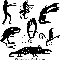 Cartoon monsters silhouettes