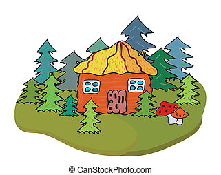 Village house and trees banner cartoon