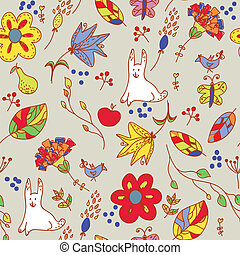 Floral retro seamless pattern with hare and leaves