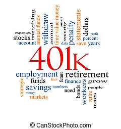 401k Word Cloud Concept with great terms such as retirement,...