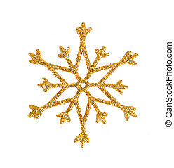 golden snowflake isolated on white christmas tree decoration...