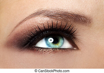 Beautiful female eye Makeup close-up