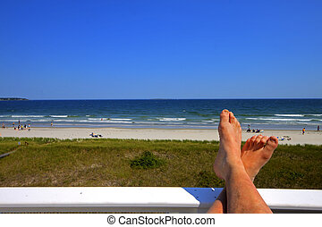Feet up - Rest and relaxation at an ocean front beach house