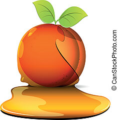 peaches in caramel - illustration, orange peaches with sheet...