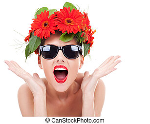young woman with wreath being excited - young beautiful...