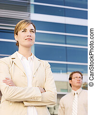 business leaders - front view of businessman and...
