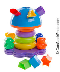 Shape Sorter. Childs toy shape sorter on a background -...