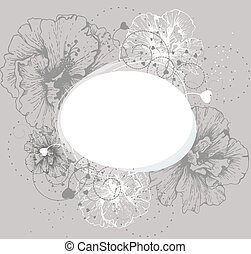 Round frame with hibiscus