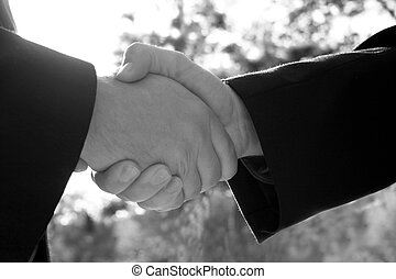 Business agreement - close up of two people shaking hands