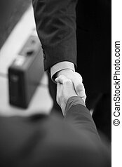Professionals shaking hands - two businessmen standing...