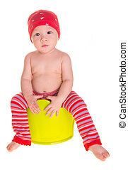 baby, asian baby and chamber-pot - baby, asian baby on...