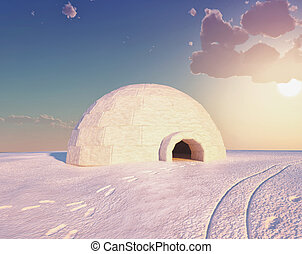 Igloo landscape ( 3D and hand-drawing elements combined.)