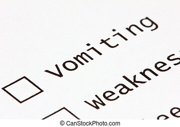 Vomiting - Macro view of a survey question, focussing on the...