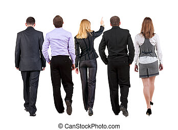 back view of walking business team
