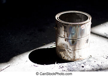 old paint bucket - Still life shot of a rusty old paint...